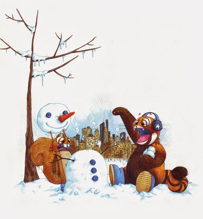 wintertime and snowman