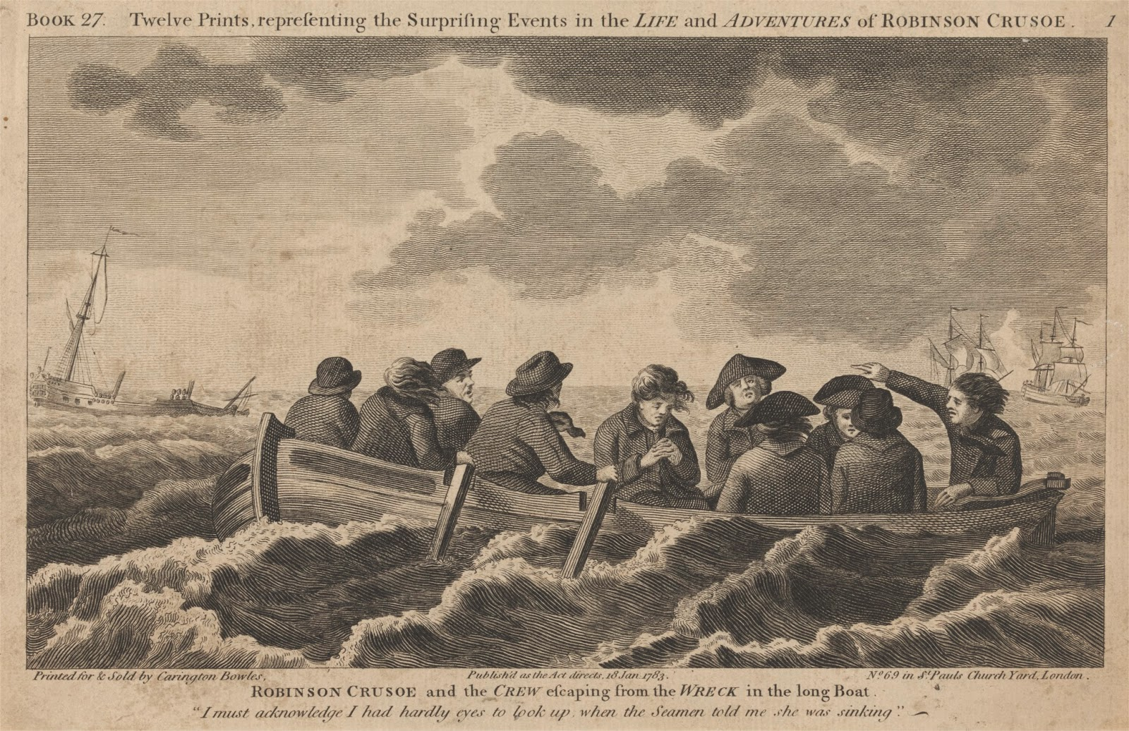 british tars robinson crusoe and the crew escaping  robinson crusoe and the crew escaping from the wreck in the long boat 1783