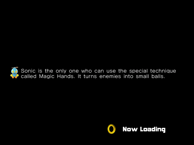 Sonic Magic Hands special technique loading hint. It turns enemies into small balls.