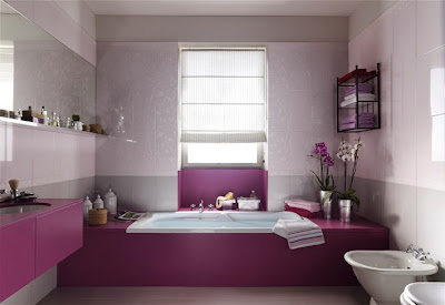 purple color bathroom