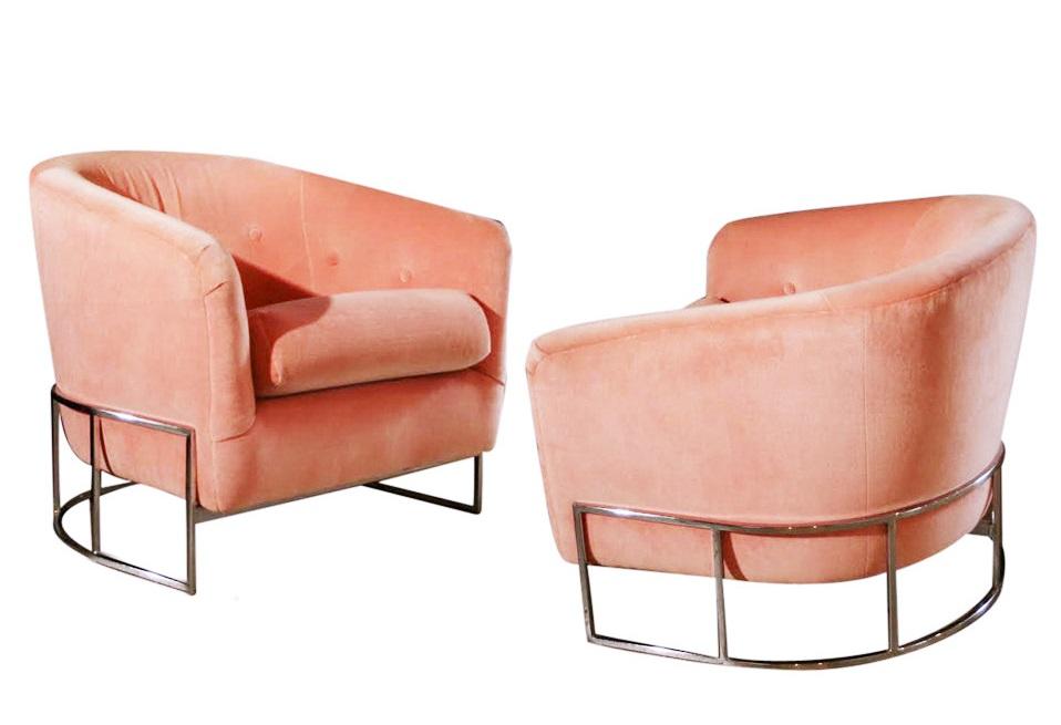 Pair of milo baughman chrome barrel chairs