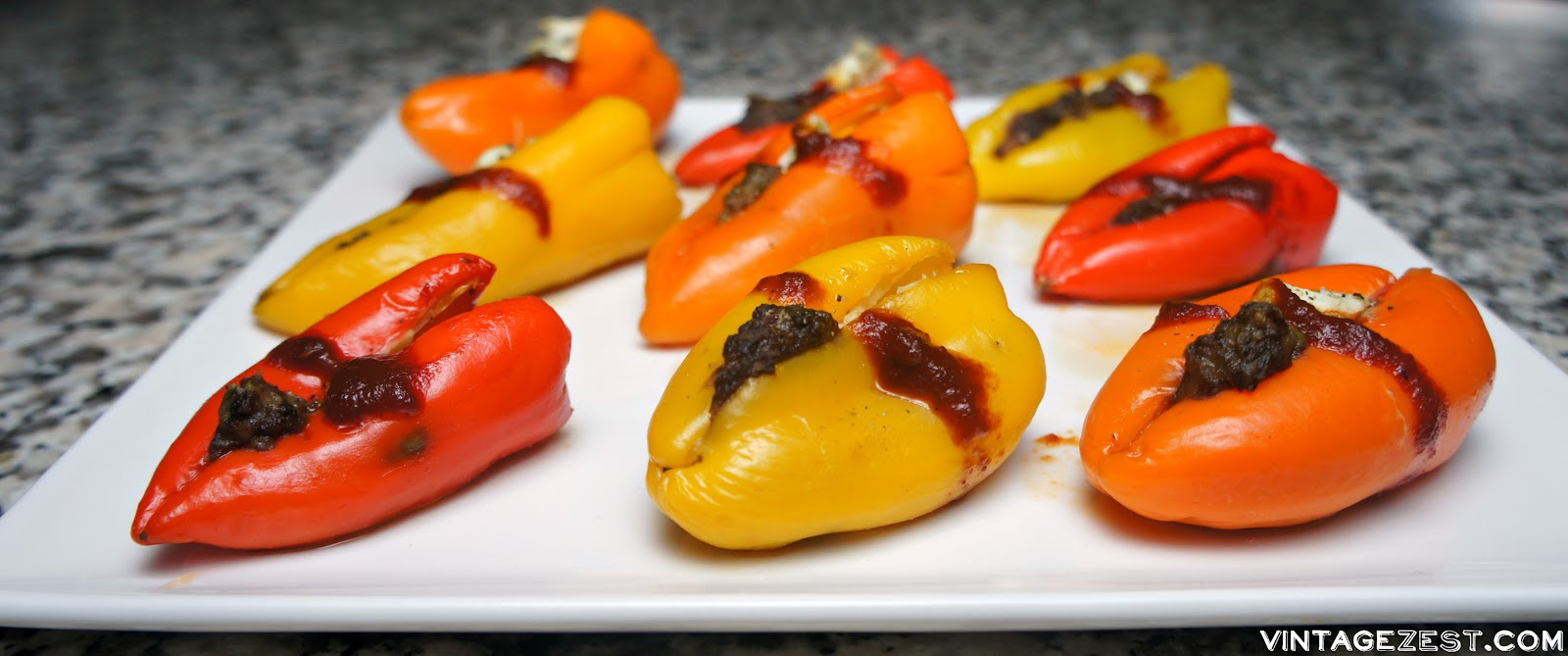 Flaming Sweet Pepper Poppers on Diane's Vintage Zest!  A super easy party-ready appetizer that's colorful and delicious! #ad #VivaLaMorena #recipe #spicy #jalapeno #stuffed