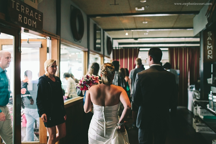 """bride and groom at Sam's chowder house reception in half moon bay"""