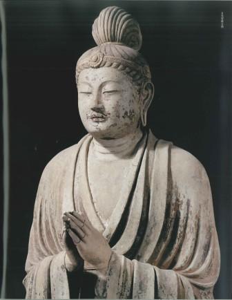 月光菩薩立像、塑像。 「流浪の画家」の隆くん
