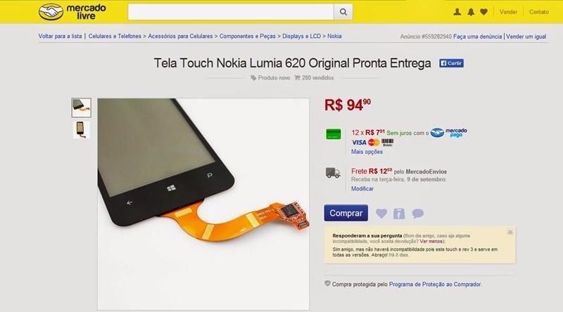 Anúncio da tela do lumia 620 que comprei no Mercado Livre