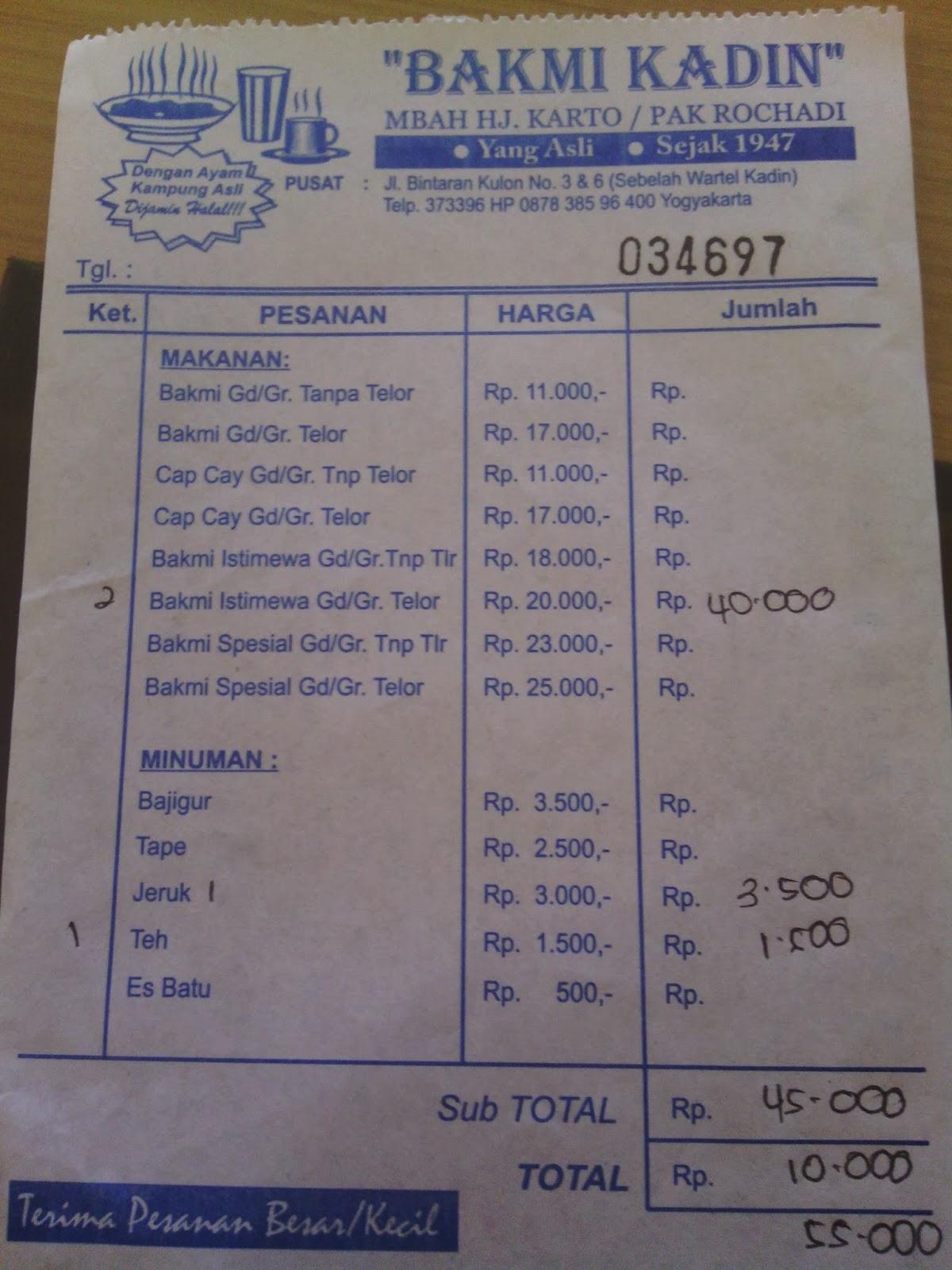 Harga menu masakan di Bakmi Kadin Yogyakarta