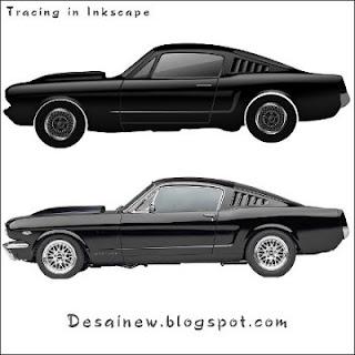cara tracing desain vektor mobil ford mustang di inkscape