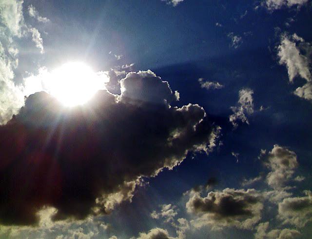 dark clouds and sun
