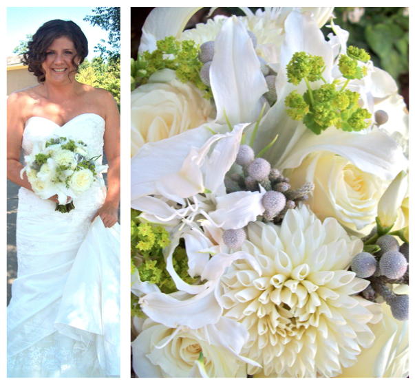 Michigan wedding florist brides bouquet ivory lilies nerine, brunia, dahlia, garden rose, sweet pea floral design, polo feilds, ann arbor, white, cream, fragrent, freesia, once wed