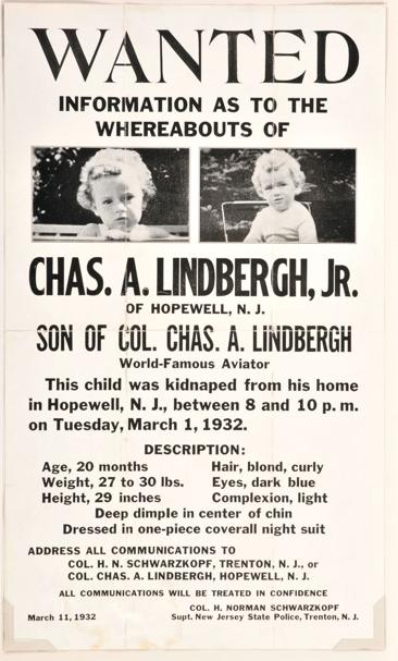 Charles Lindbergh Kidnapping poster