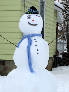 Snowman with blue scarf and hat