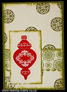 Simple but beautiful Ornament Keepsakes Christmas Card by Stampin' Up! Demonstrator Bekka Prideaux - check her blog for lots of great ideas