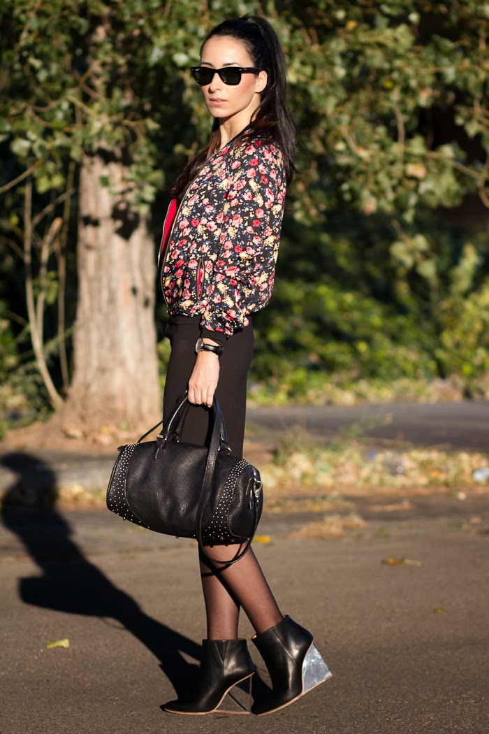 Total Black and Floral Bomber Jacket