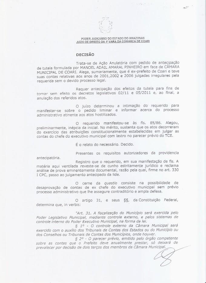 VITÓRIA DE ADAIL: JUSTIÇA ANULA DECISÃO DA CÂMARA DE COARI  QUE REPROVAVA AS CONTAS DE 2001, 2002 E 2006  dECIS