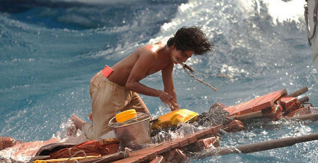Pi on a wooden raft in Life Of Pi