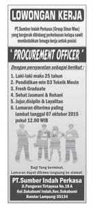 Lowongan Kerja PT. SUMBER INDAH PERKASA OKTOBER 2015 di Bandar Lampung, Lowongan Kerja PT. SUMBER INDAH PERKASA OKTOBER 2015 di Metro, Lowongan Kerja PT. SUMBER INDAH PERKASA OKTOBER 2015 di Bandar Jaya, Lowongan Kerja PT. SUMBER INDAH PERKASA OKTOBER 2015 di Liwa, Lowongan Kerja PT. SUMBER INDAH PERKASA OKTOBER 2015 di Kalianda, Lowongan Kerja PT. SUMBER INDAH PERKASA OKTOBER 2015 di Tulang Bawang, Lowongan Kerja PT. SUMBER INDAH PERKASA OKTOBER 2015 di Pringsewu, Lowongan Kerja PT. SUMBER INDAH PERKASA OKTOBER 2015 di Kota bumi, Lowongan Kerja PT. SUMBER INDAH PERKASA OKTOBER 2015 di Krui, Lowongan Kerja PT. SUMBER INDAH PERKASA OKTOBER 2015 di Natar, Lowongan Kerja PT. SUMBER INDAH PERKASA OKTOBER 2015 di Blambangan Umpu, Lowongan Kerja PT. SUMBER INDAH PERKASA OKTOBER 2015 di Panaragan Jaya, Lowongan Kerja PT. SUMBER INDAH PERKASA OKTOBER 2015 di Sukadana, Lowongan Kerja PT. SUMBER INDAH PERKASA OKTOBER 2015 di Gunung Sugih, Lowongan Kerja PT. SUMBER INDAH PERKASA OKTOBER 2015 di Wiralaga Mulya, Lowongan Kerja PT. SUMBER INDAH PERKASA OKTOBER 2015 di Gedong Tataan, Lowongan Kerja PT. SUMBER INDAH PERKASA OKTOBER 2015 di Surabaya, Lowongan Kerja PT. SUMBER INDAH PERKASA OKTOBER 2015 di Bandung, Lowongan Kerja PT. SUMBER INDAH PERKASA OKTOBER 2015 di Bekasi, Lowongan Kerja PT. SUMBER INDAH PERKASA OKTOBER 2015 di Medan, Lowongan Kerja PT. SUMBER INDAH PERKASA OKTOBER 2015 di Tangerang, Lowongan Kerja PT. SUMBER INDAH PERKASA OKTOBER 2015 di Depok, Lowongan Kerja PT. SUMBER INDAH PERKASA OKTOBER 2015 di Semarang, Lowongan Kerja PT. SUMBER INDAH PERKASA OKTOBER 2015 di Palembang, Lowongan Kerja PT. SUMBER INDAH PERKASA OKTOBER 2015 di Makassar, Lowongan Kerja PT. SUMBER INDAH PERKASA OKTOBER 2015 di Bogor, Lowongan Kerja PT. SUMBER INDAH PERKASA OKTOBER 2015 di Batam, Lowongan Kerja PT. SUMBER INDAH PERKASA OKTOBER 2015 di Pekanbaru , Lowongan Kerja PT. SUMBER INDAH PERKASA OKTOBER 2015 di Malang, Lowongan Kerja PT. SUMBER INDAH PERKASA OKTOBER 2015 di Padang, Lowon