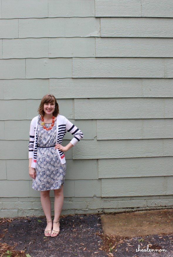 spring look with floral dress and stripes | www.shealennon.com