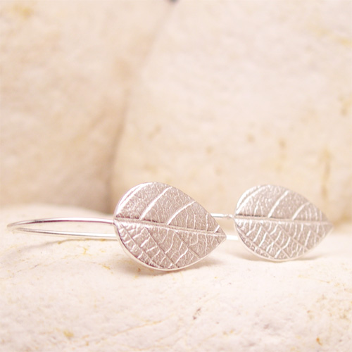 Silver Leaf Earrings: Textured Silver Dangly Leaves