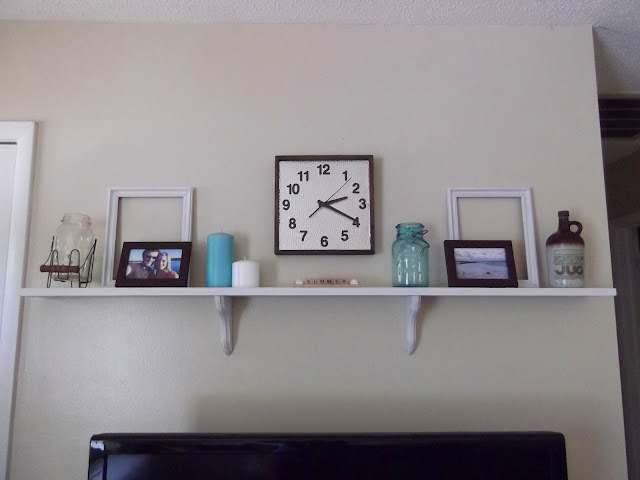 Thrifty 31 blog new shelf above tv for Above tv decor