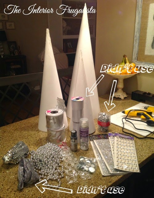 Supplies used for Pier 1 inspired Christmas cone trees