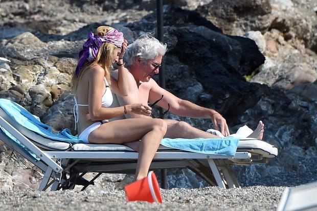 Celebrity Couple Richard Gere and Alejandra Silva a vacation, paparazzi photo