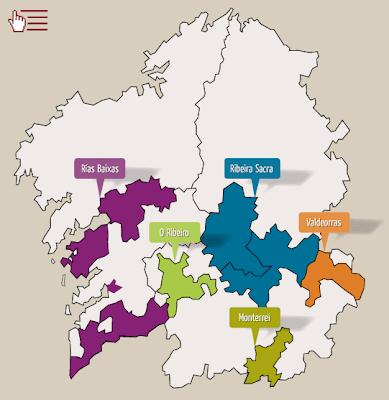 Mapa ruta de los vinos de Galicia