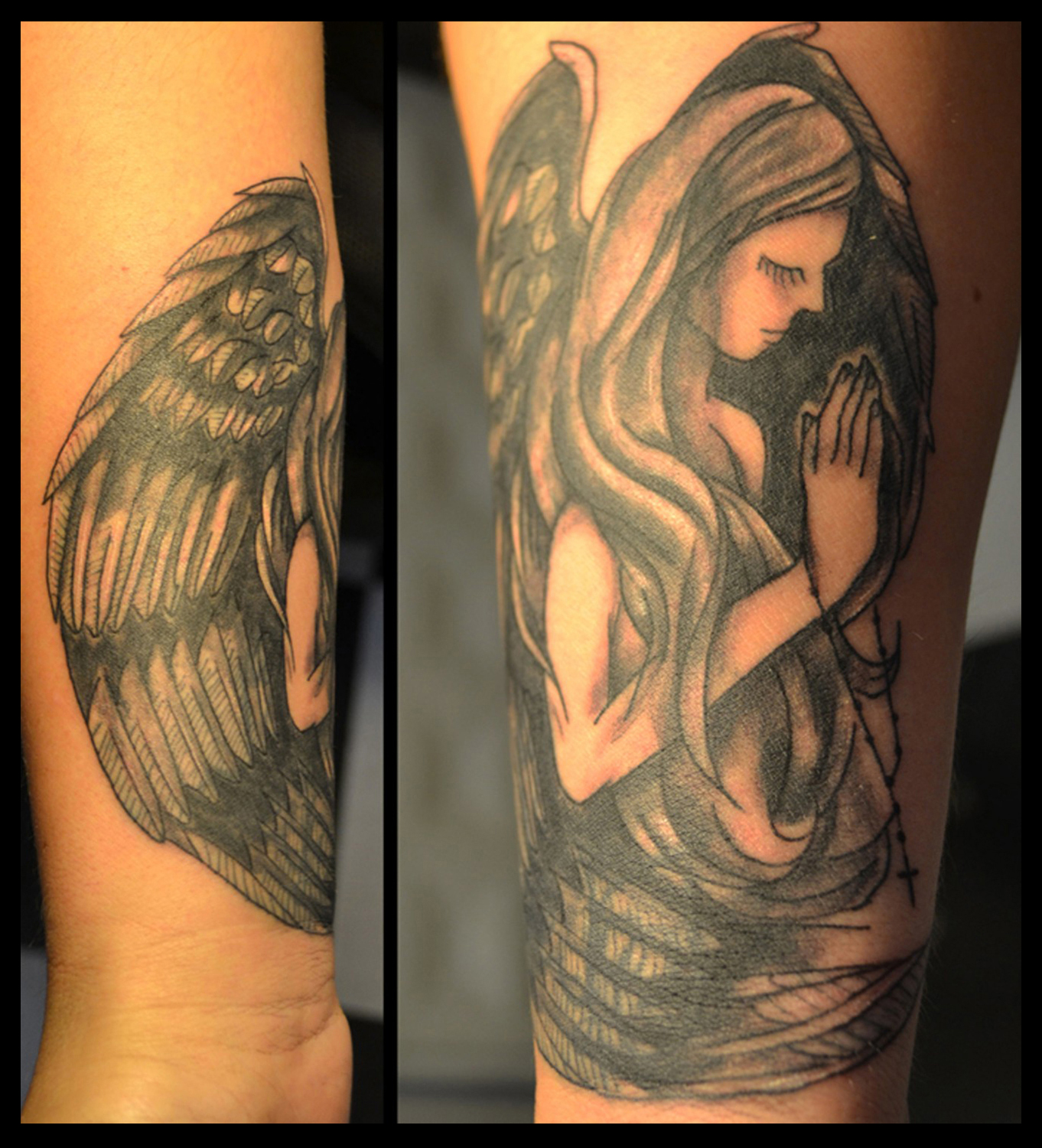 Philip towers tattoo artist black and grey angel for Black and grey tattoo artists