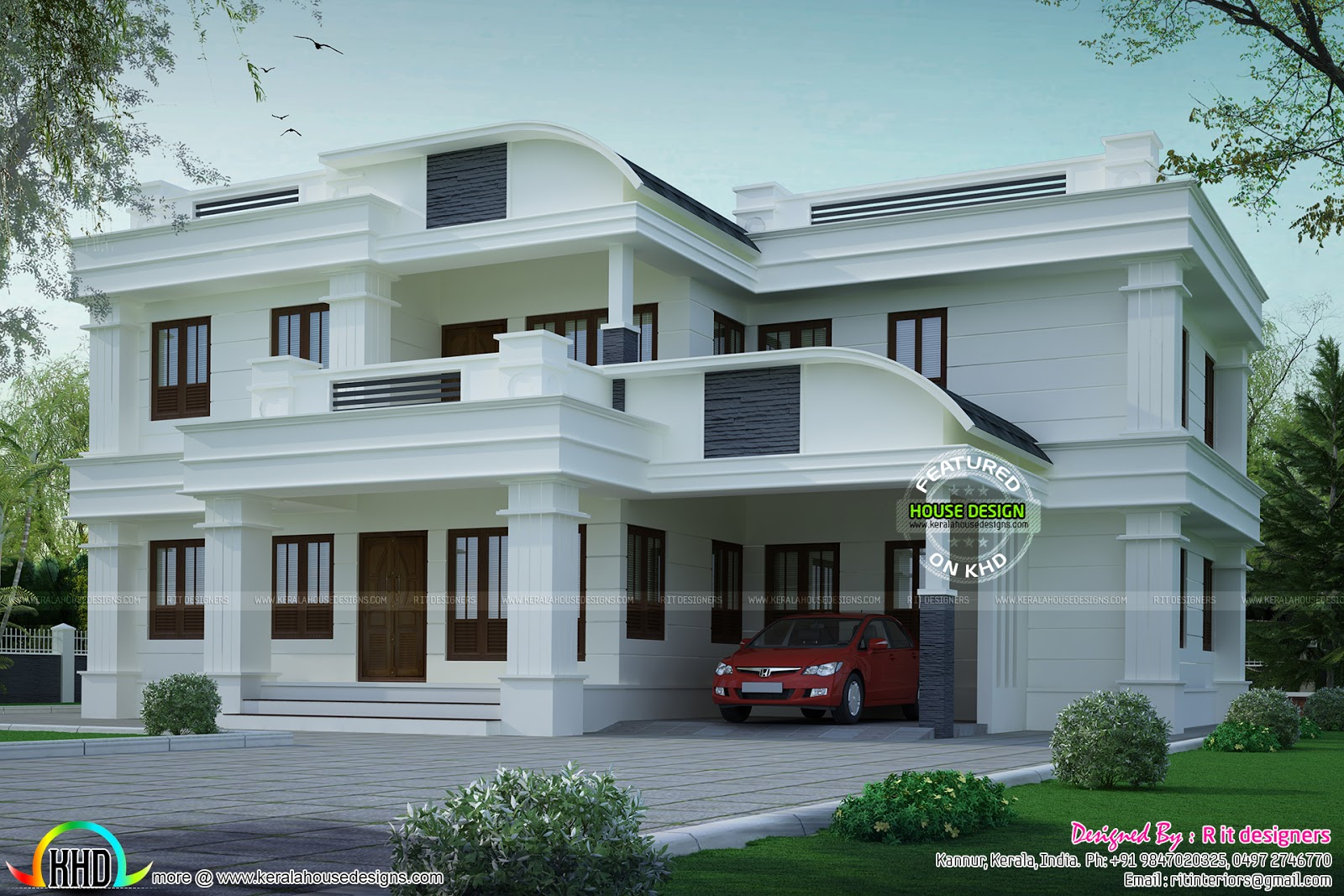 Curved roof mix house plan kerala home design and floor for Curved roof house plans