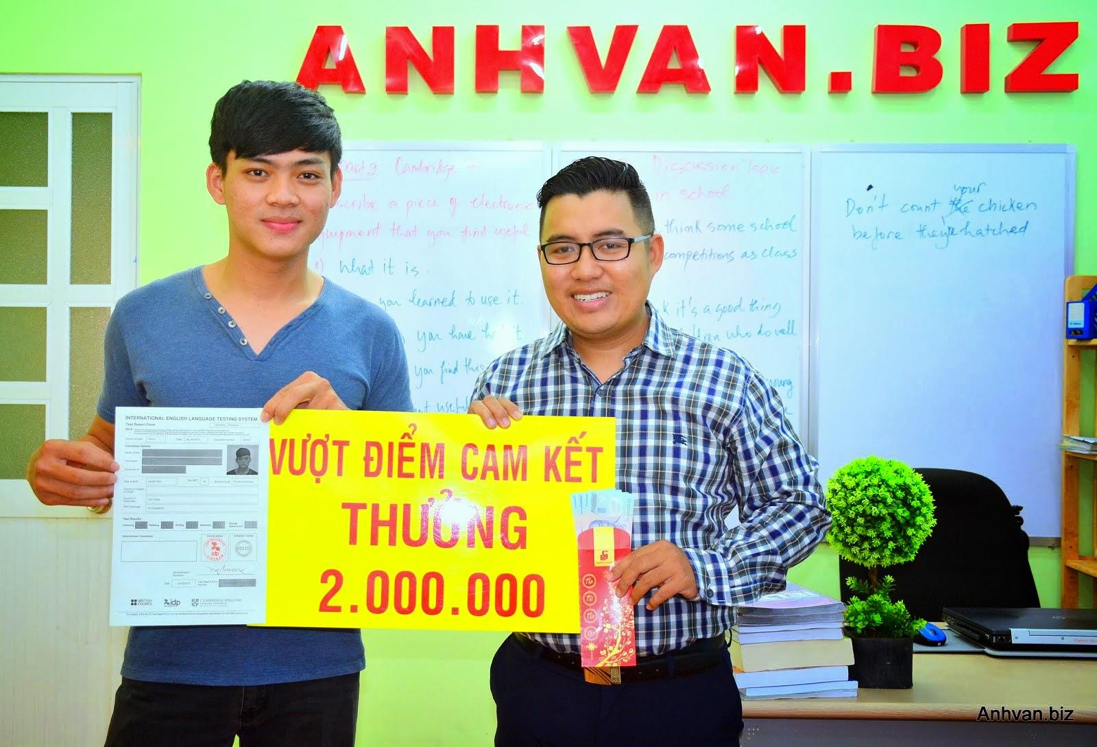 Trao Thưởng 2,000,000 cho Gia Minh IELTS GENERAL 5.5 khóa 20 ngày.