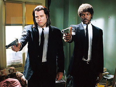 John Travolta and Samuel L. Jackson as Vincent and Jules in Pulp Fiction