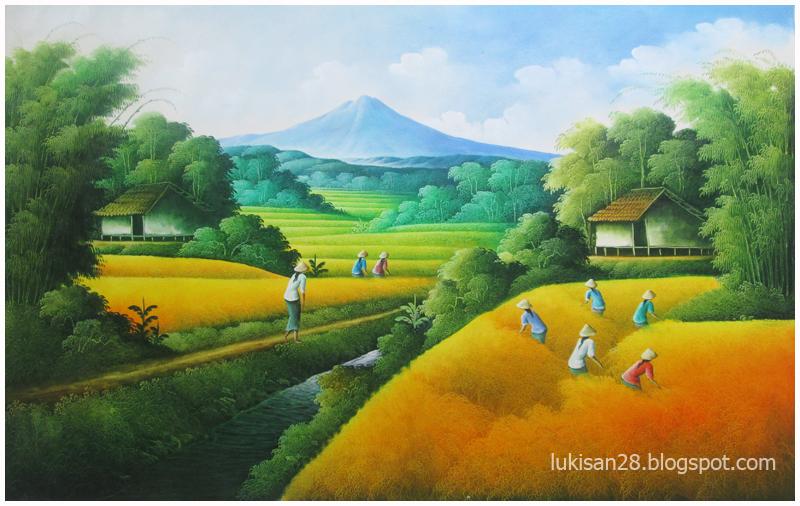 Lukisan Pemandangan Sawah Padi