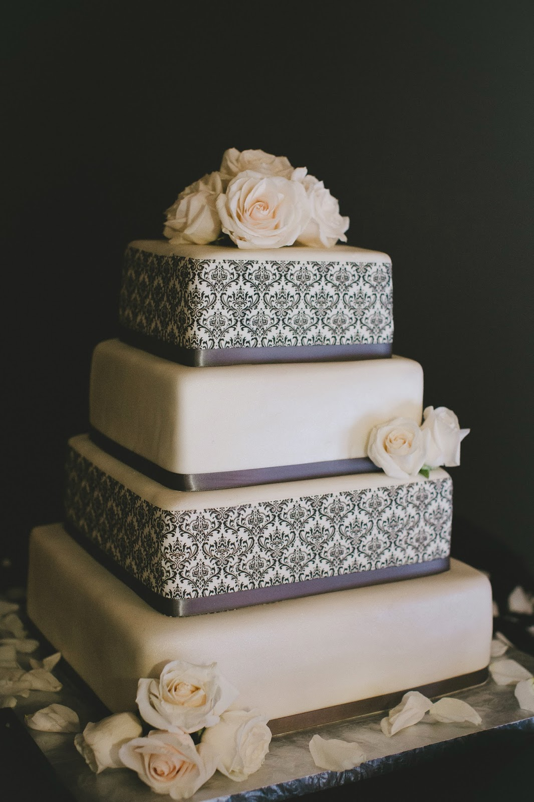 Pewter grey patterned modern wedding cake by Dee's Bakery // Bethany Carlson Photography // Take the Cake Event Planning