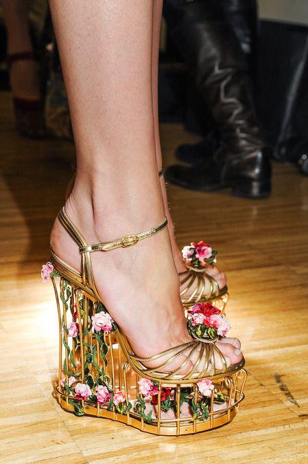 Dolce and Gabbana Floral Cage Heels 2014 - Rebel66 Blog