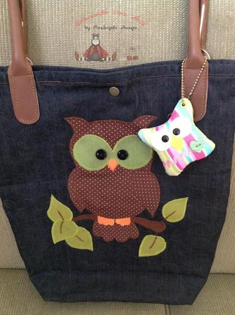 Bolsa De Tecido Decorada Com Coruja : Ensinando com arte bolsa sacola coruja
