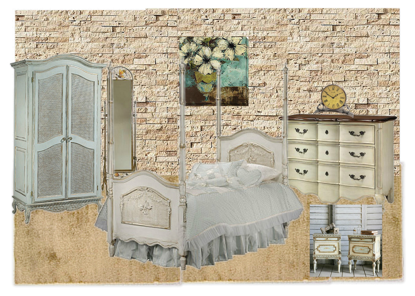 Moodboards monday shabby chic bedroom finishing touch interiors Shabby chic style interieur