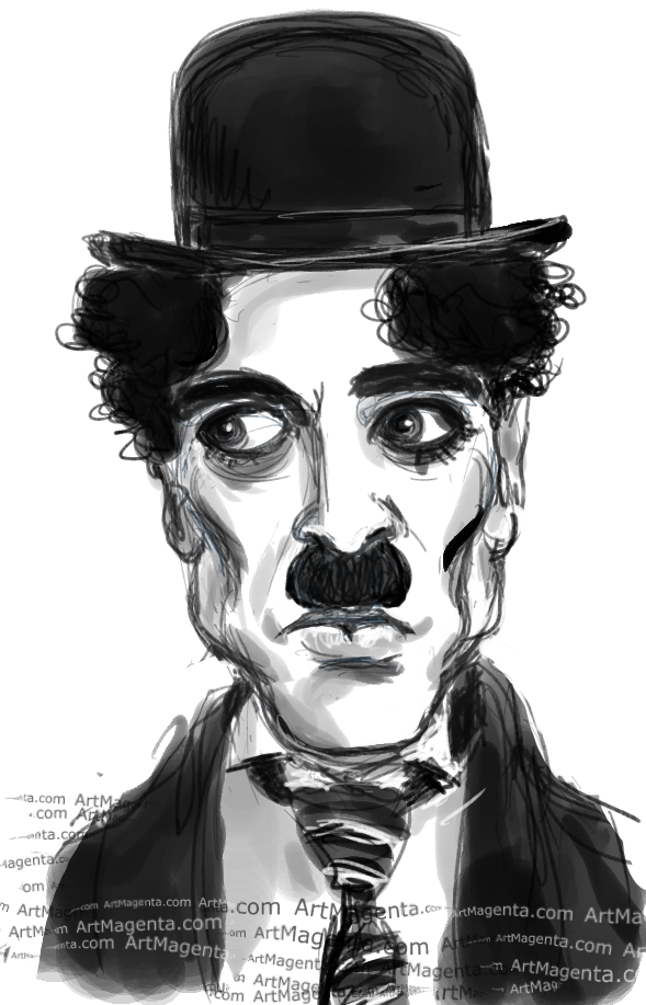 Charlie Chaplin caricature cartoon. Portrait drawing by caricaturist Artmagenta