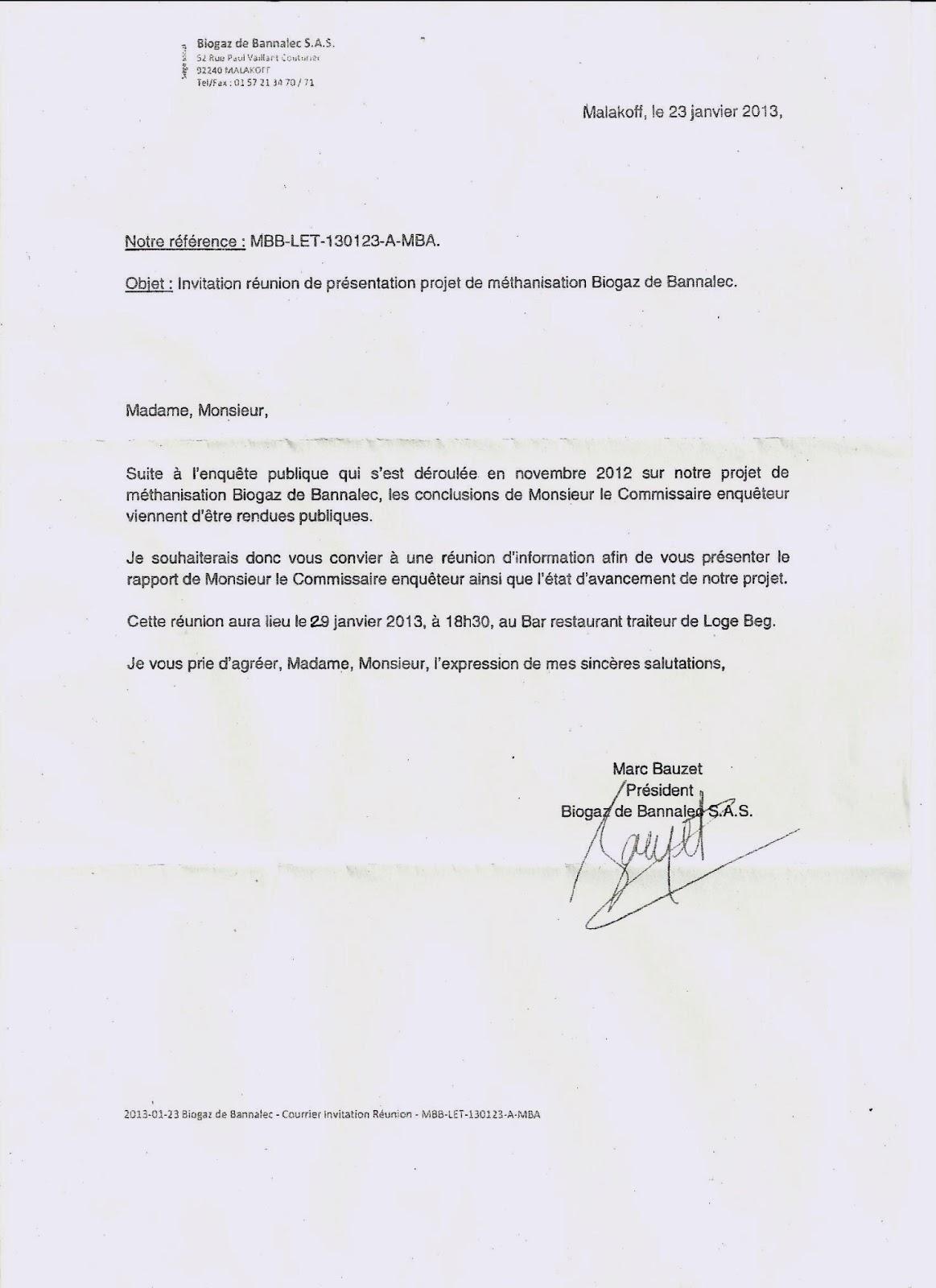 Methanisation BANNALEC Invitation REUNION de BIOGAZ de Bannalec