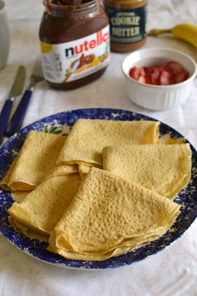 Whole wheat Crepes with Banana, Strawberry & Nutella filling