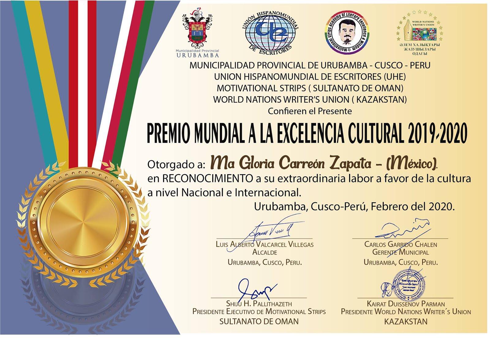 Premio Mundial a la Excelencia Cultural 2019 2020.