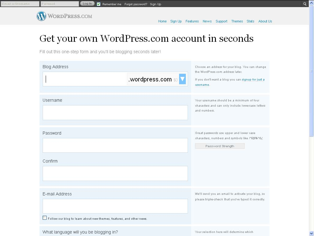 pendaftaran blog di wordpress.com