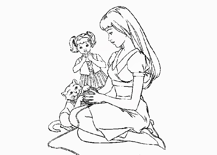 Barbie And Kelly Coloring Page