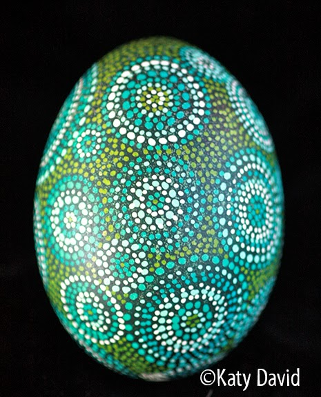 Modern Pysanky Friday Egg Blue Green Dot Circles