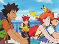 Ash Misty y Brock en bicicleta