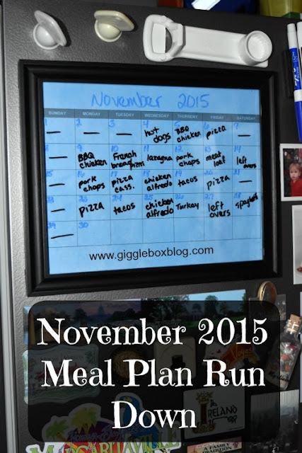 dinner meal plans for the month of November 2015,
