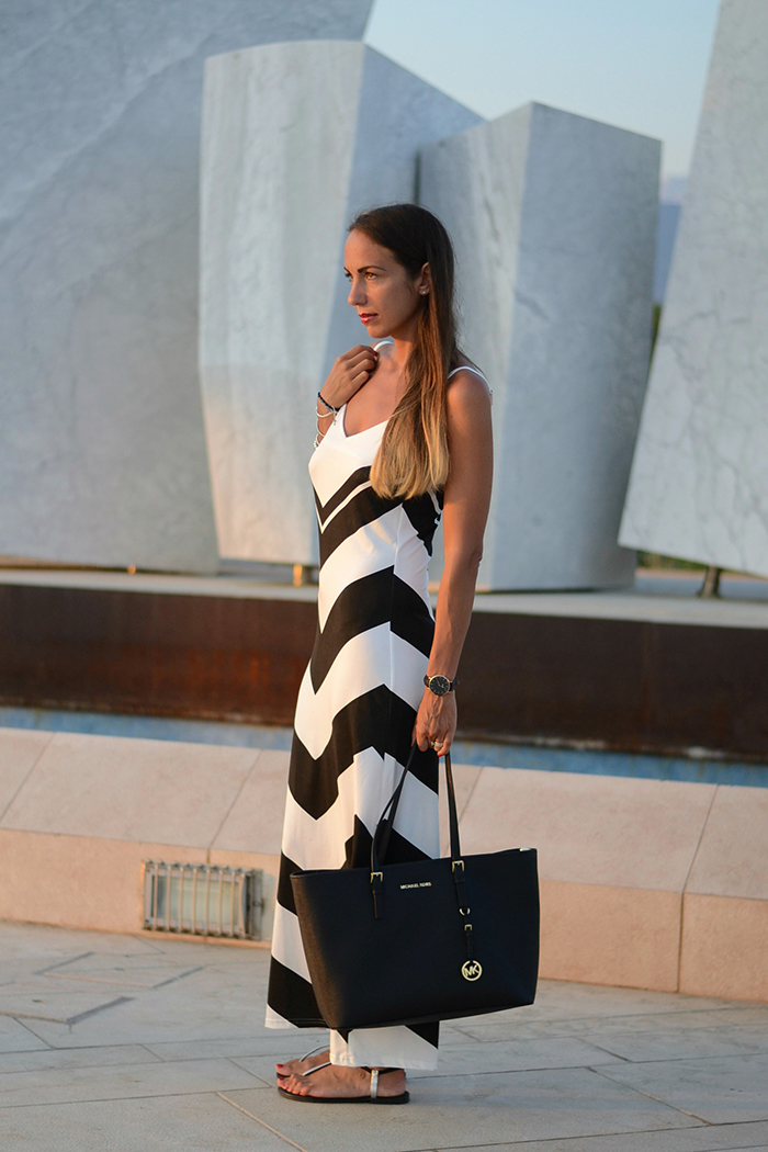 maxi dress bianco nero