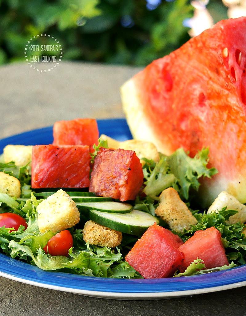 easy recipe for Salad with Chipotle Grilled Watermelon