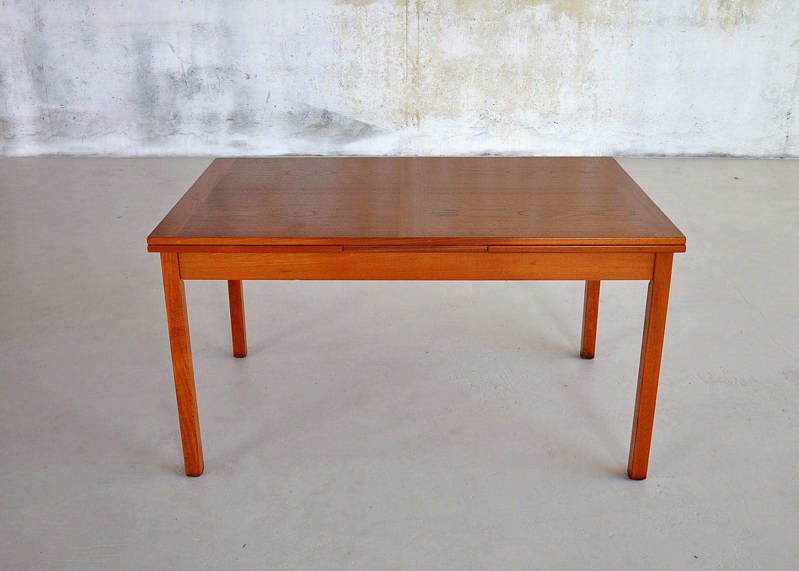 Danish Modern Teak Expandable Dining Room Table