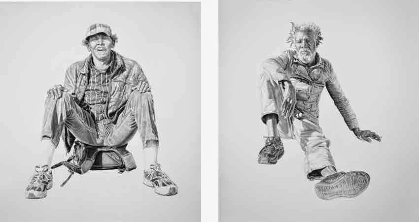 Preston, Billy. Both works 16x20in, Charcoal & Graphite on Paper by Joel Daniel Phillips