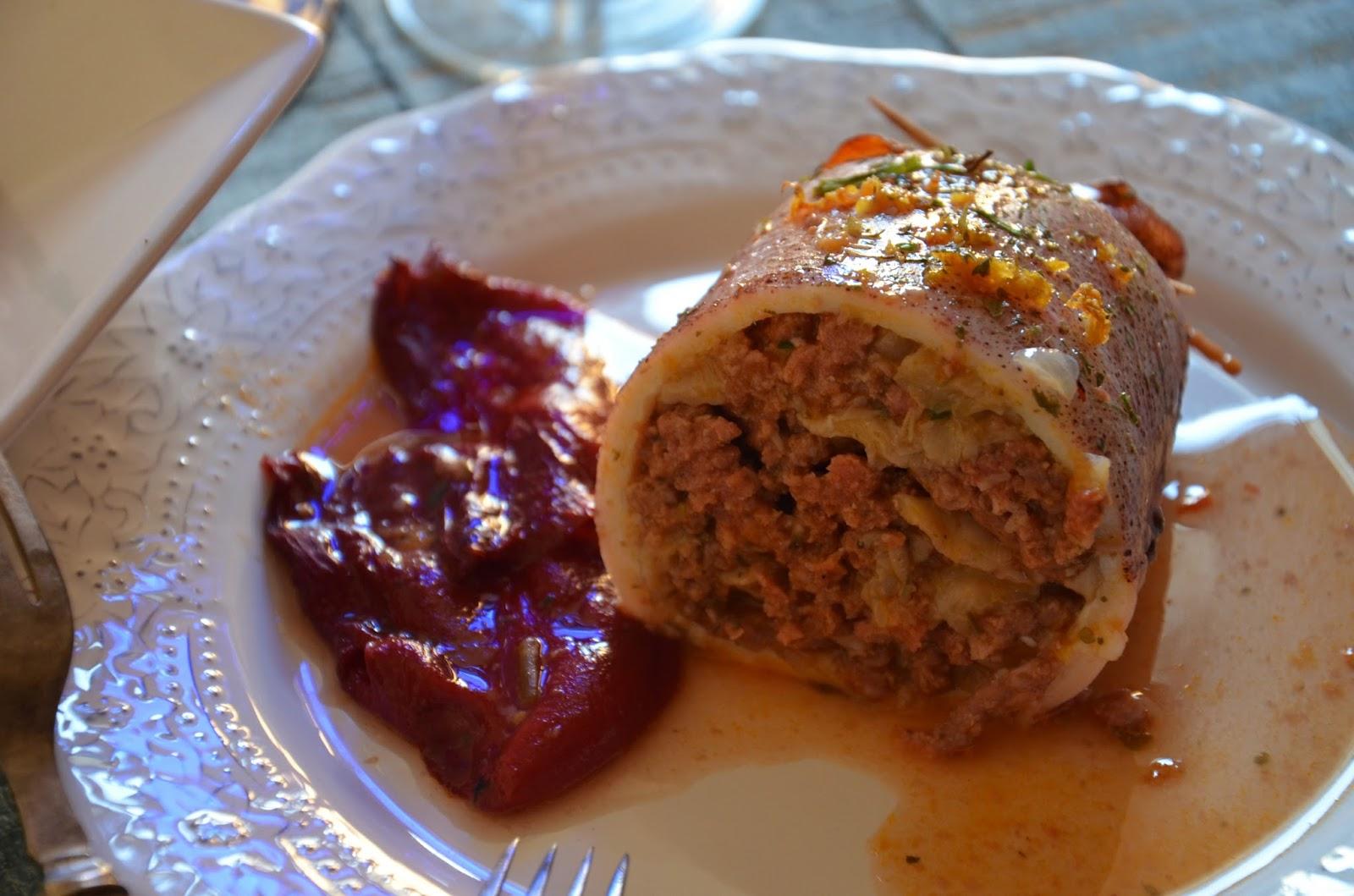 Calamar relleno de carne y setas cuchillito y tenedor - Salsa para relleno de carne ...