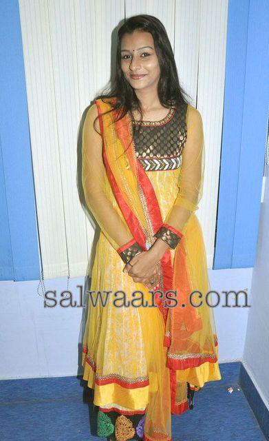 Banaras Net Yellow Salwar Kameez